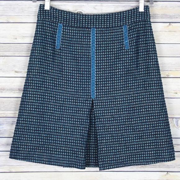 Marc Jacobs Dresses & Skirts - Marc Jacobs Wool Tweed Velvet Blue Skirt Size 6
